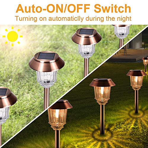 IP65 Waterproof Ornament LED Post Light Auto On//Off Garden Lights with Warm White LED Lights Solar Lights Outdoor
