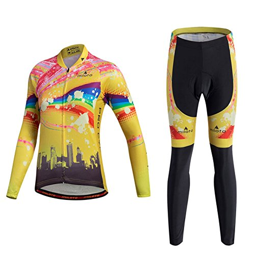 Xinzechen Women's Polyester Cycling Jersey Long Sleeve and Pants 3D Padded Sets Riding Space Size M