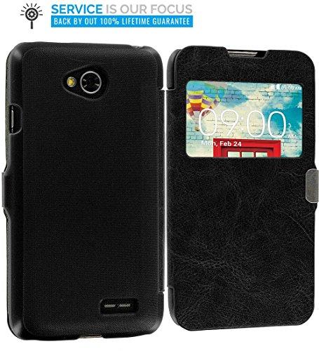 LG Optimus L90 Case, TechSpec(TM) Black (Open) Magnetic Flip Wallet Case Cover Pouch for LG Optimus L90