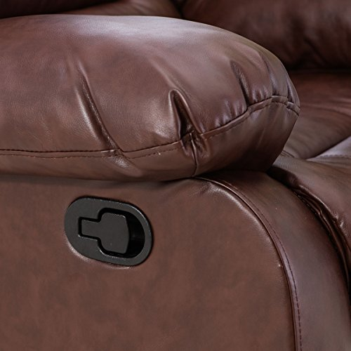 Giantex 3Pc Black Motion Sofa Loveseat Recliner Set Living Room Bonded Leather Furniture (Love-Seat, Espresso)