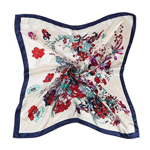 Auwer Square Scarf, Hot Sale ! Floral Printed Women Lady Square Scarf Head Wrap Kerchief Neck Satin Shawl (Blue)