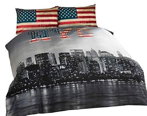 Copripiumino America.New York City American Double Face Singolo Misto Cotone Colore Blu