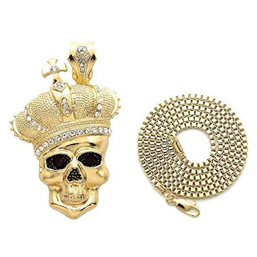 Fashion 21 Unisex Hip Hop Crown Skull Pendant 24
