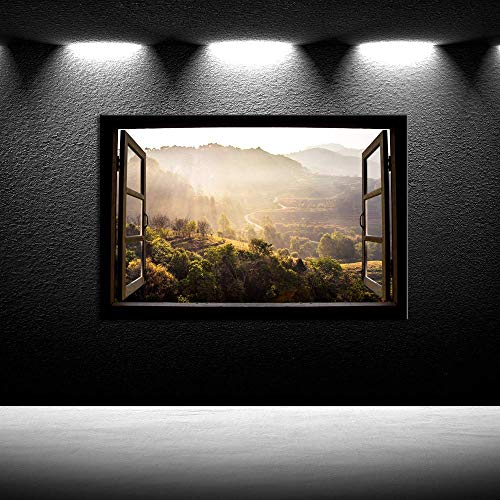 iKNOW FOTO Window View Nature Canvas Print Paintings Walls Giclee Fall Landscape Pictures Printed on Canvas Modern Stretched Framed Wall Art Ready to Hang Rustic Home Decor 24x36inch