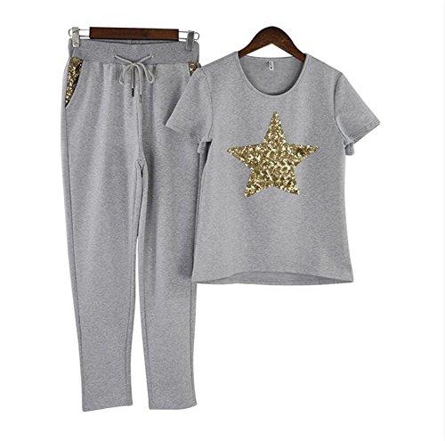 spyman Summer Women Casual Suits Short Sleeve T-Shirt and Pant 2-Piece Set Gray L]()