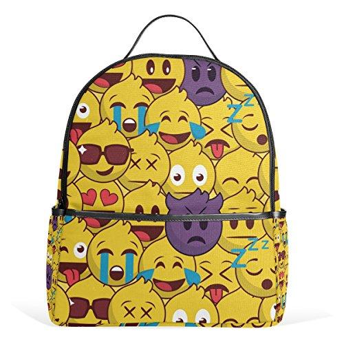 Price comparison product image My Little Nest Funny Emoji Print School Bag Lightweight Travel Shoulder Backpack for Women Girls Teenage