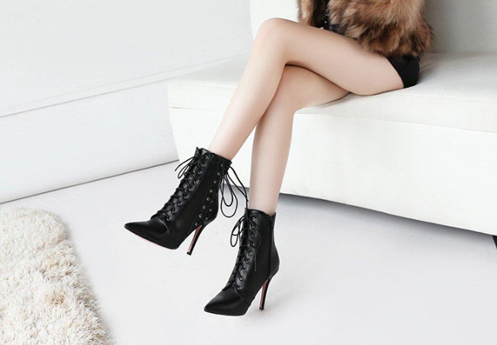JAZS® Stiletto Spitze einfarbig Lace up Seitlicher Reißverschluss Stiletto JAZS® Stiefel Angenehm, abriebfest, sexy, süß. ( Farbe : Schwarz , größe : 36 ) Schwarz 9b5144