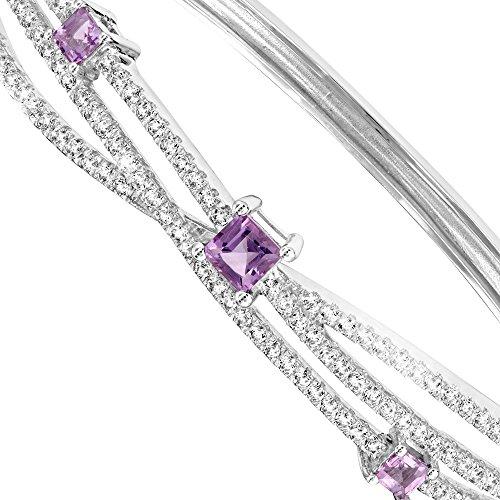 Bracelet Bangle en Argent et 162 Cristaux Swarovski Cubic Zirconia Blancs et Violets -Blue Pearls-CRY J116 X