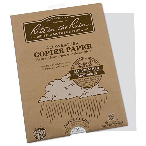 Rite in the Rain Weatherproof Laser Printer Paper, 8 1/2' x 11', 20# Gray Colored Printer Paper, 50 Sheet Pack (No. 8511GY-50)
