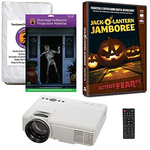 Halloween Window Projection Kit Includes 1200 Lumen Projector, 2 High Resolution Projection Screens (R/D) and AtmosFEARFx Jack-O-Lantern Jamboree on DVD -