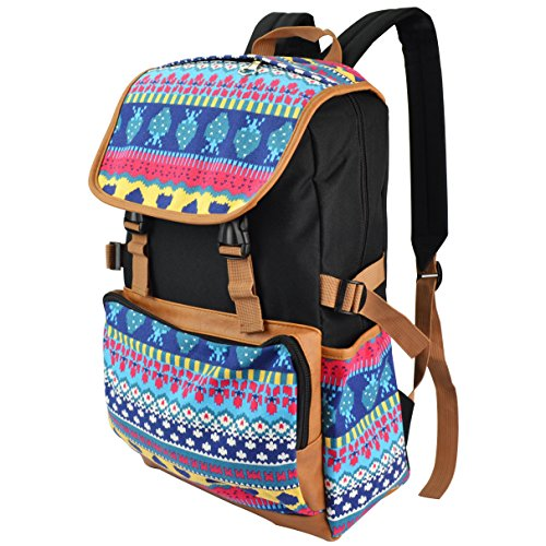 Premium Canvas Backpack Travel Shoulder School Bag Case for Apple MacBook Pro with Retina display 13'' 15''/HP/Dell/Lenovo/ASUS/Toshiba/Acer 15.6 inch Laptops (Incan Blue/Yellow) by SumacLife