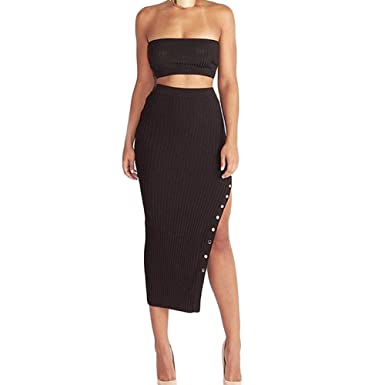 ff0fe118f VERYCO Women Midi Pencil Skirt Sexy Buttons Split Knitted Bodycon Skirts:  Amazon.co.uk: Clothing