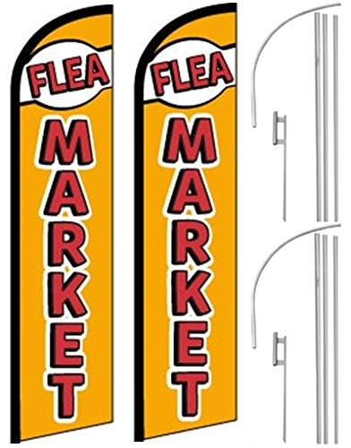 Cheap 2 Windless, Swooper, Feather, Banner Flags FLEA MARKET, Poles & Ground Spikes