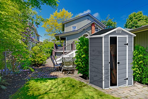 keter manor outdoor plastic garden storage shed grey 4 x. Black Bedroom Furniture Sets. Home Design Ideas