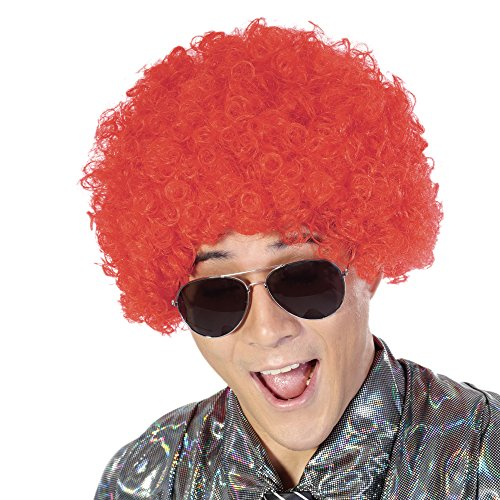 Fluffy Afro Synthetic Clown Wig for Men Women Cosplay Anime Party Christmas Halloween Fancy Funny Wigs (Red)