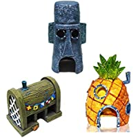 Mumoo Bear 3 PCS Small Aquarium SpongeBob Decoration Pineapple House Squidward Easter Island Fish Tank Spongebob Figures…