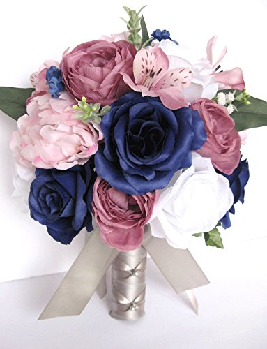 Amazon 17 piece package wedding bouquet bridal bouquets silk 17 piece package wedding bouquet bridal bouquets silk flower bouquet pink navy mauve dusty blush bridal mightylinksfo