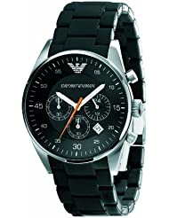 Emporio Armani Sport Silicone-wrapped Chronograph Black Dial Mens Watch #AR5858