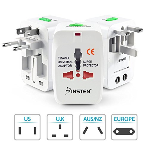 Insten Universal World Wide Travel Charger Worldwide Adapter Plug For iPhone X / iPhone 8, LG G6, Samsung Galaxy S8 / S8+ S8 Plus, White