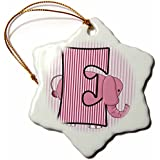 3dRose orn_62850_1 E is for Elephant in Pink for Girls Baby and Kids Monogram E in Striped Prints-Snowflake Ornament, Porcelain, 3-Inch