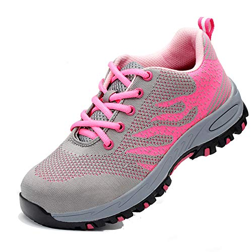 Womens Composite Toe Boot - SUADEX Steel Toe Shoes for Men and Women Industrial Construction Work Safety Shoes Sneakers, Outdoor Hiking Trekking Trail Composite Shoes 113-Pink Size 9 Women / 7.5 Men