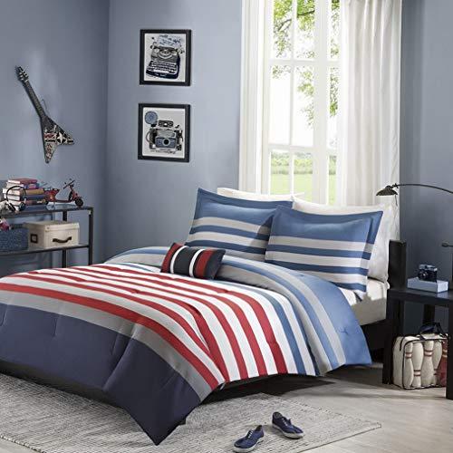 Alex Trundle Twin Bed - Kaputar New!! ~ Sporty RED Grey Navy Blue Stripe Boys Soft Comforter Set Pillow | Model CMFRTRSTS - 3312 | Twin