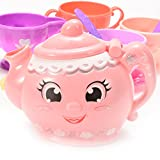 Amyove Pretend Play Toy Colorful Toy Teacup&Teatop Sets for Girls Durable Play Food Accessories 11PCS