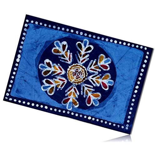 mySimpleProduct.Shop Blue, Yellow & White Rectangle Abstract Multi Batik Floral Flower Pattern Patterned Polka Dot Dotted Border Tapestry Table Placemats Made of 100% Cotton [1 Unit] + Certificate