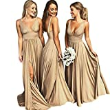 Asoiree V-Neck Long Prom Dresses High Slit Wedding Bridesmaid Dress Champagne