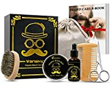 Vansky - Beard Grooming Kit Beard Growth Kit, Beard Care Kit Including Beard Oil, Beard Balm, Mustache Brush, Beard Scissors, Beard Comb-Best Men's Gift