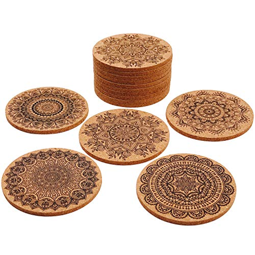 Aozer 15 Pieces Cork Coasters - 4'' Round Absorbent Reusable Cup Mat Cork Drink Coasters for Home Restaurant Office and Bar, 5 Styles by Aozer