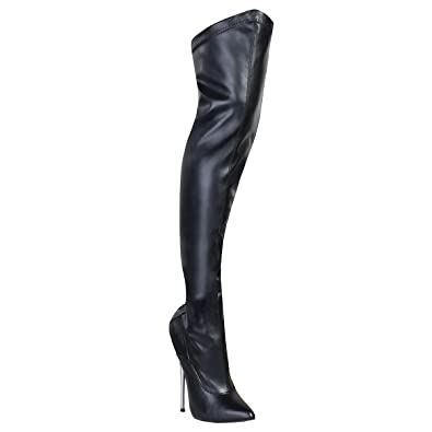 0ffc6c2c0efb3 Summitfashions Black Stretch Thigh High Fetish Boots with Back Laces and  6.25 Inch Brass Heels