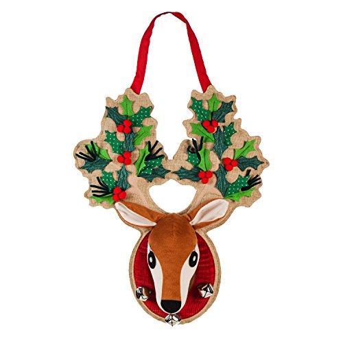 (Evergreen Flag Holly Antlers Reindeer Outdoor Safe Door Hanger)