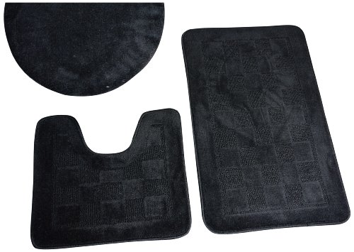 Dainty Home 3-Piece Bath Set with Rug/Contour/Lid Cover, Black
