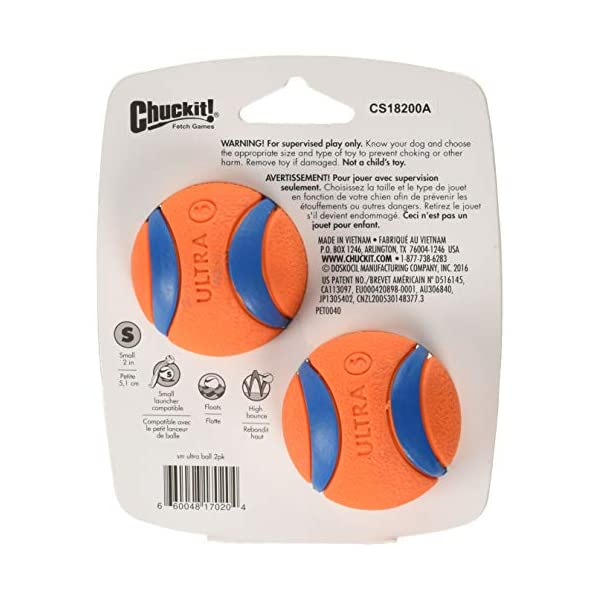 Chuckit Ultra Ball, Durable High Bounce Rubber, Launcher Compatible, 2 Pack, Small 2