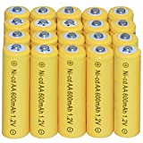 20 AA Rechargeable Batteries NiCd 600mAh 1.2v Garden Solar Ni-Cd Light Nicd Lamp Reviews