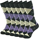 SUTTOS Men's Boy's Comfort Crazy Fashion Design Charged Cotton Blend Big and Tall Moisture Control Wicking Mid Calf Long Dressy Socks,6 Pairs