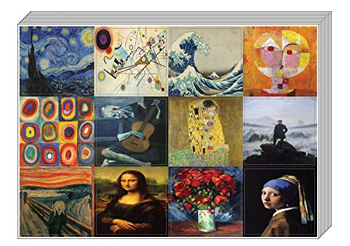 Famous Classic Arts Stickers (10 Sheets) - Artistic Paintings Inspiring Wall Stickers for Men, Women, Teens. Great to Stick on Laptops, Walls, Table, Desk, and Any Surfaces