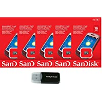 SanDisk 16GB (5 Pack) MicroSD HC Memory Card SDSDQAB-016G (Retail Packaging) LOT OF 5 with Everything But Stromboli Memory Card Reader