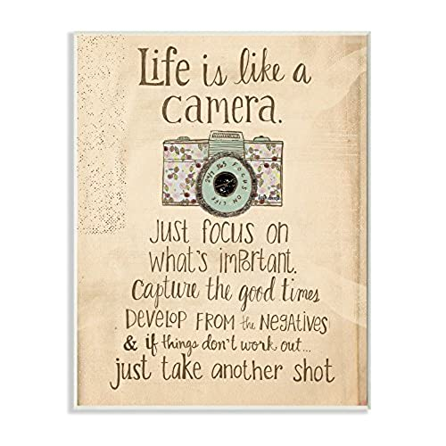 Delightful Stupell Home Décor Life Is Like A Camera Inspirational Art Wall Plaque, 10  X 0.5 X 15, Proudly Made In USA