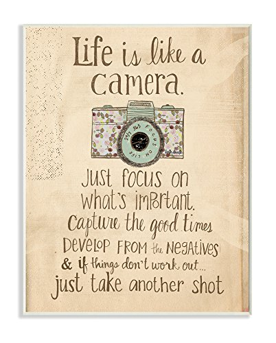 Stupell Home Décor Life Is Like A Camera Inspirational Art Wall Plaque, 10 x 0.5 x 15, Proudly Made in - Wall Inspirational Art Plaque