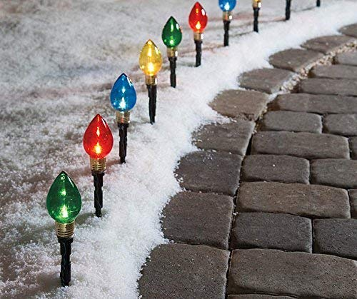 Multi-Color Light Bulb Pathway Markers, 11 Inch (2.76 Inch Bulb), 10 Pack by Winter Wonder Lane