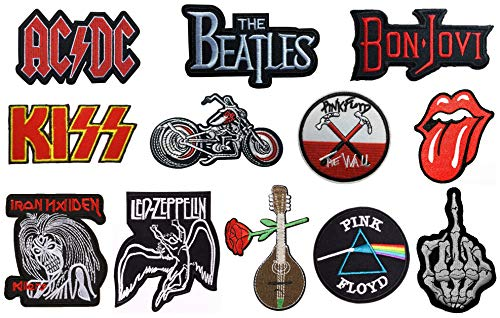 SpaceAuto Bon Jovi,Iron Maiden Killer,Rolling Stone,Pink Floyd, Kiss,The Beatles,ACDC,Led Zeppelin,Skull Middle Finger Skeleton Bone,Harley Motorbike,Guitar Logo Patches (Patch Jovi Bon)