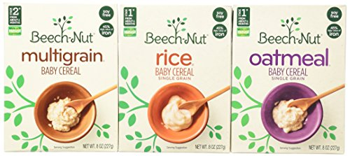 3-Pack Beech-Nut Baby Cereal: Rice, Oatmeal, and Multigrain, 8 Oz. Boxes [1 of Each]
