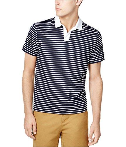 Custom Fit Stripe Polo - Tommy Hilfiger Mens Custom-Fit Stripe Rugby Polo Shirt, Black, Large