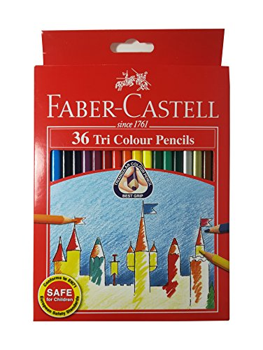 Faber-Castell 36 Colors Tri/Triangular Easy Grip Colored Pencils Pre-sharpened for Kids and Adult Coloring Book,Ideal for Christmas Gifts (Pack of (Best Faber Castell Coloring Pencils For Adult Coloring Books)