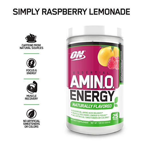 OPTIMUM NUTRITION Naturally Flavored Essential Amino Energy, Simply Raspberry Lemonade, Keto Friendly Preworkout and Essential Amino Acids with Green Tea and Green Coffee Extract, 7.94 Ounce (1 Count)