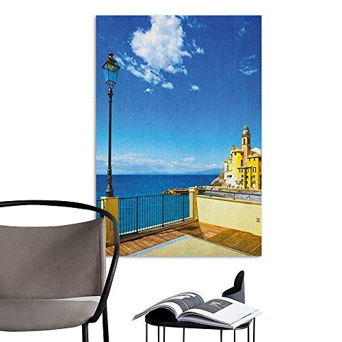 Alexandear Waterproof Art Wall Paper Poster Italian Camogli Building Sea Lamp and Balcony Tourist Spot in Ligury Italy Print Blue White and Yellow Art Mural Decals W20 x ()