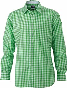 James & Nicholson Men's Jn617 Checked Shirt Large Green/White