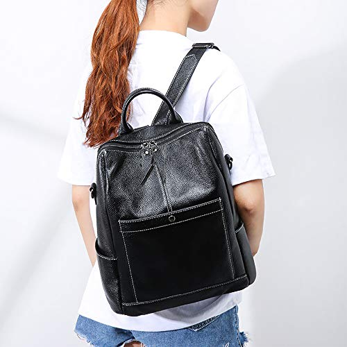 Shoulder with Square SUNAS Black Strap Bucket Pocket Women Vertical Soft Backpack xIYxqwUO